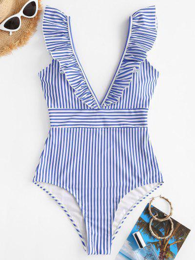 ZAFUL Ruffles Striped One-piece Swimsuit - Light Blue L