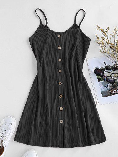 ZAFUL Button Down Slip Dress - Black M