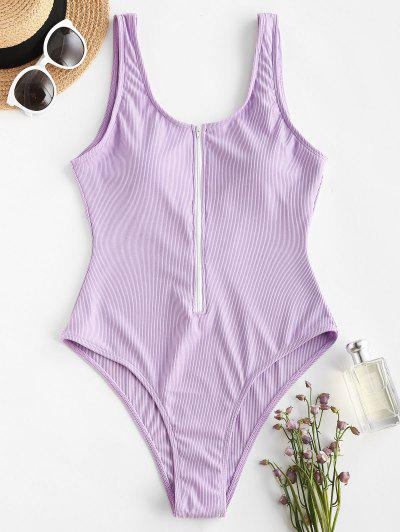 ZAFUL Half Zip Ribbed Sporty One-piece Swimsuit - Light Purple L