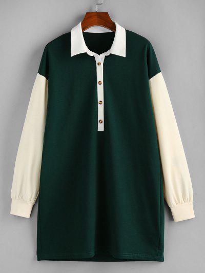ZAFUL Contrast Colorblock Drop Shoulder Knit Dress - Dark Forest Green S