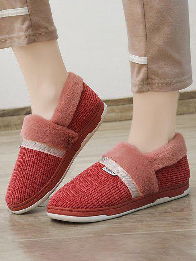 Winter Plush Slip On Flat Shoes - Red Wine Eu 37
