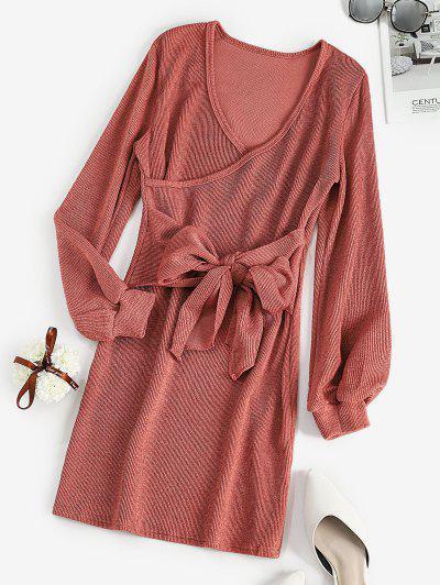 Long Sleeve Tie Waist Ribbed Surplice Dress - Pink L