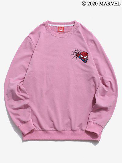 Marvel Spider-Man Embroidery Web Pattern Sweatshirt - Light Purple S