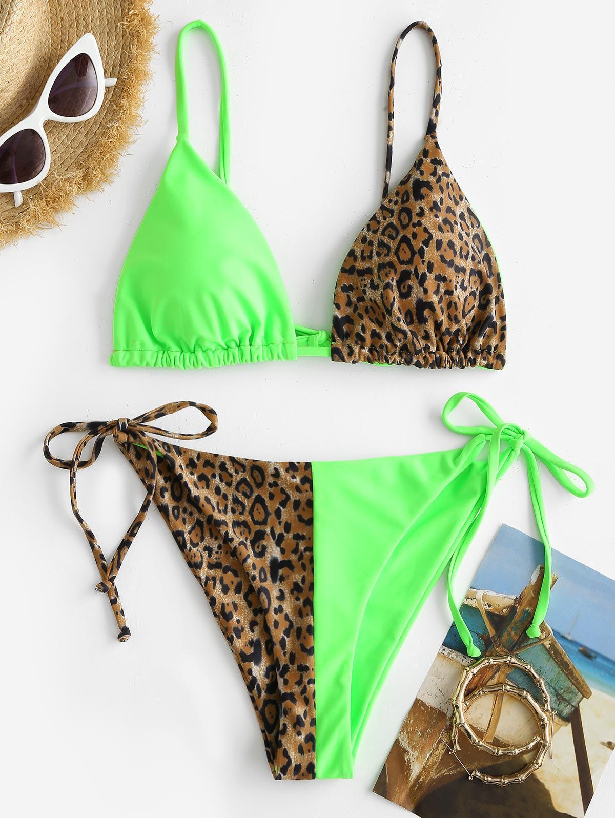 ZAFUL Leopard Two Tone Tanga String Bikini Swimwear
