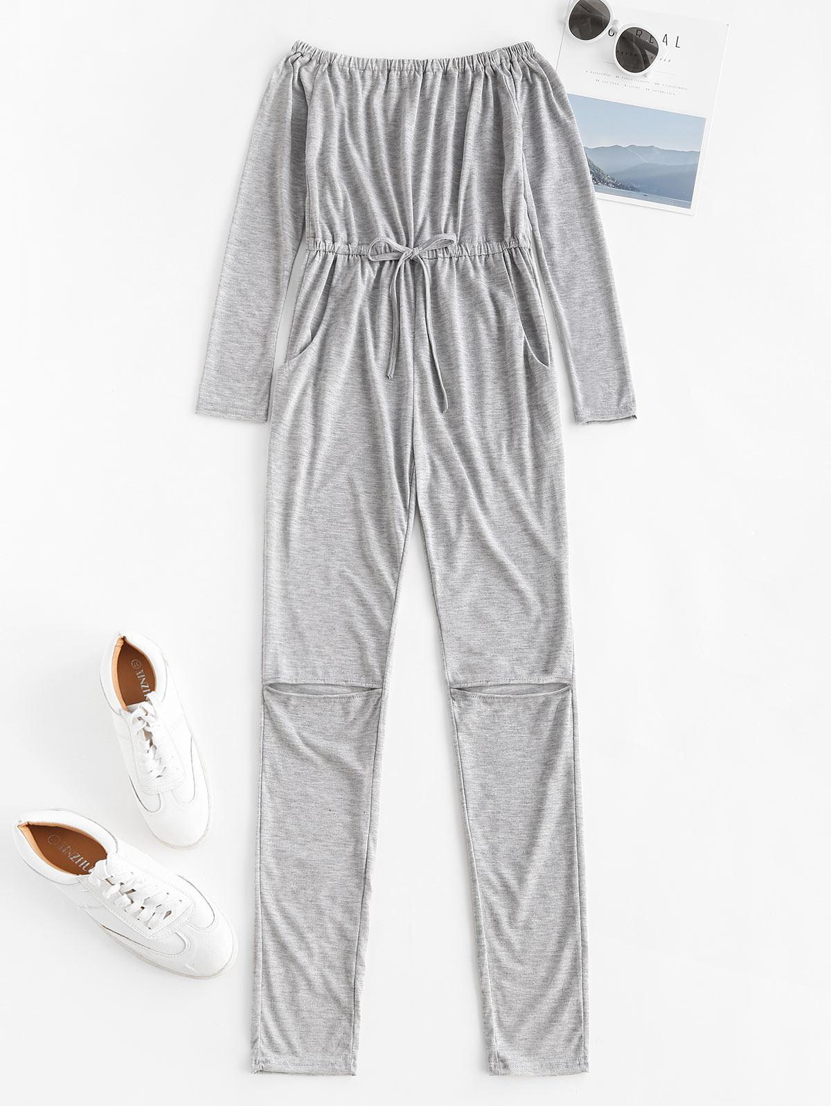 zaful Off Shoulder Knee Ripped Pajama Jumpsuit