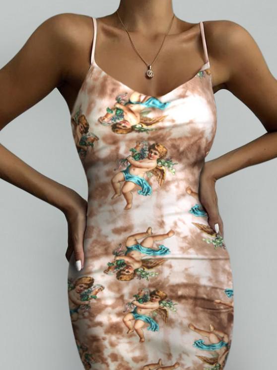 ladies Angel Print Renaissance Art Bodycon Tie Dye Slit Dress - COFFEE M