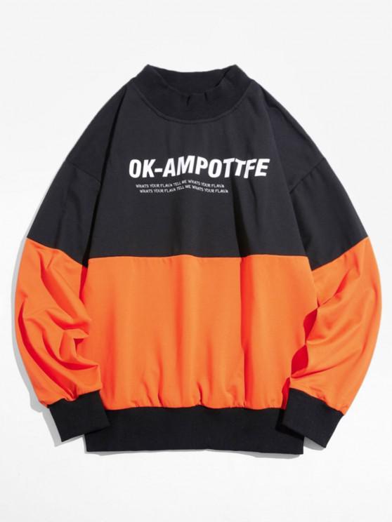 Sweatshirt Lettre Graphique en Blocs de Couleurs à Goutte Epaule - Orange Foncé M