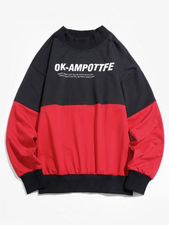 Sweatshirt Lettre Graphique en Blocs de Couleurs à Goutte Epaule - Rouge 3XL