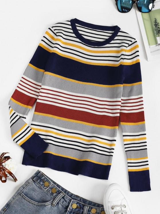 Striped Ribbed Slim Sweater - ازرق غامق حجم واحد
