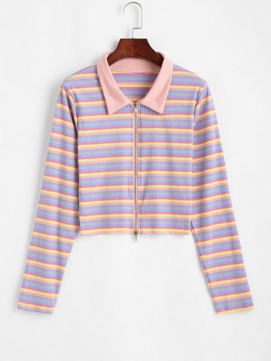 hot Zip Up Colorful Stripes Ribbed Tee - MULTI M