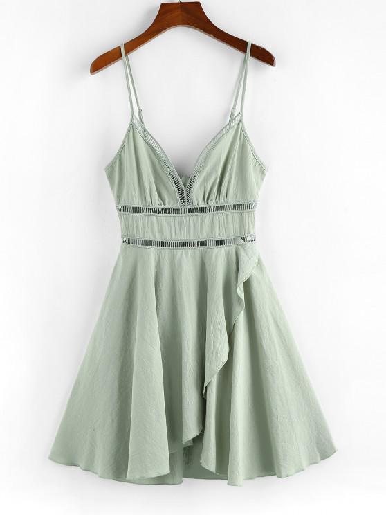 shop ZAFUL Crochet Panel Tulip Hem Cami Dress - LIGHT GREEN M