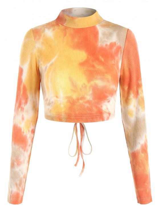 shop ZAFUL Tie Dye Ribbed Open Back Crop T-shirt - ORANGE M