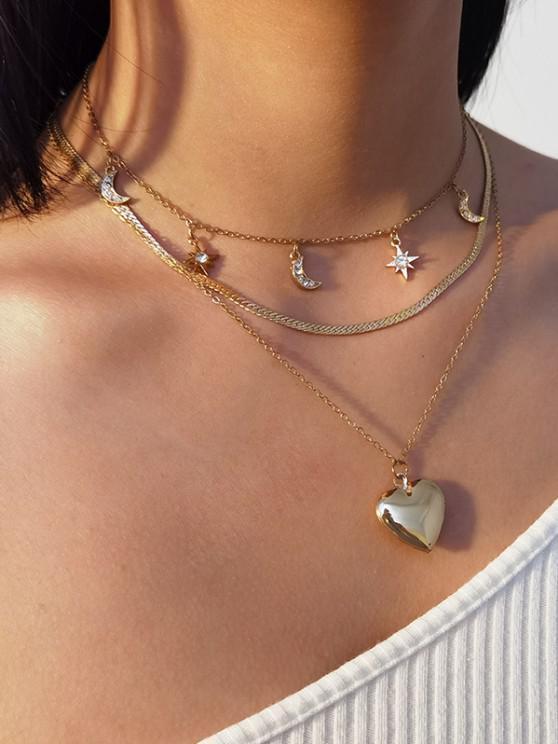 3Pcs Rhinestone Moon Heart Necklace Set - ذهبي