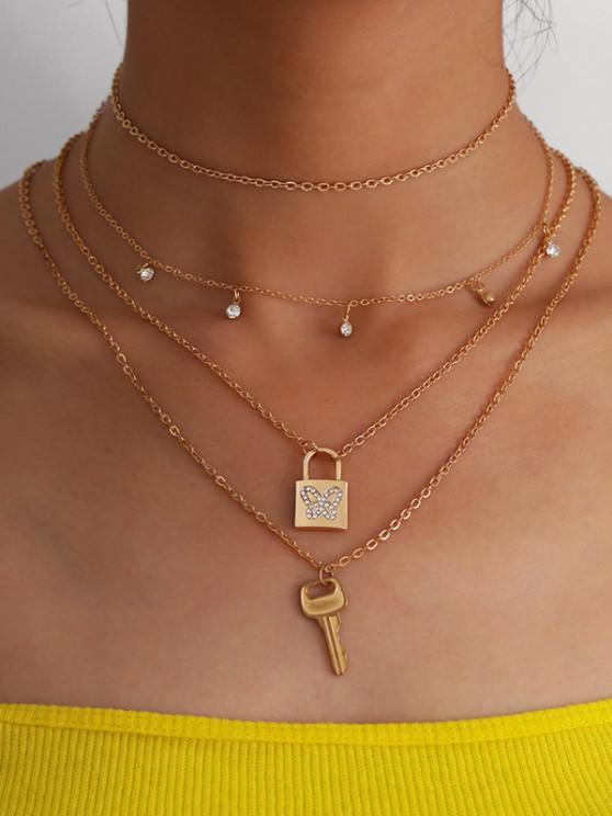 3Pcs Lock Key Butterfly Layers Necklace Set - ذهبي