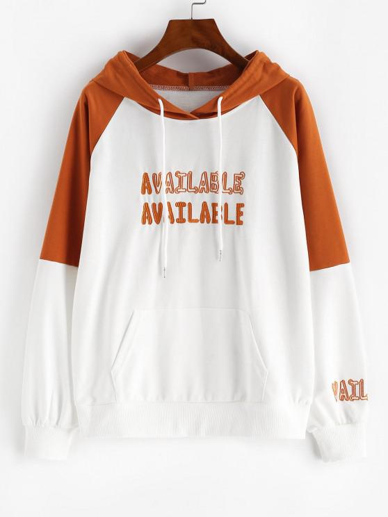 sale Raglan Sleeve Letter Embroidered Contrast Hoodie - WHITE XL
