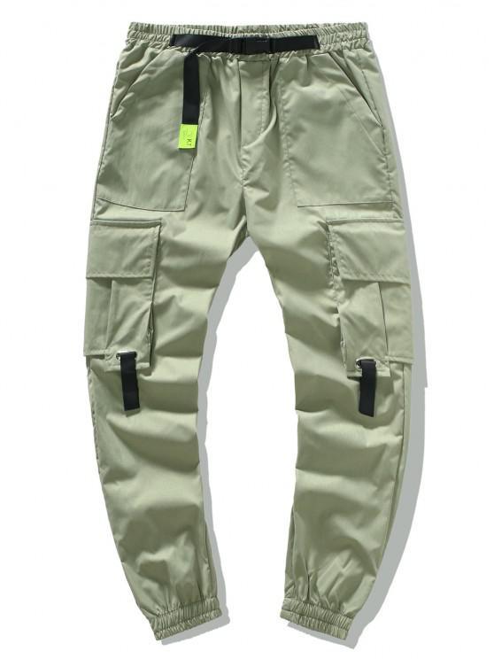 Buckle Waist Flap Pockets Leisure Cargo Pants - اخضر فاتح L