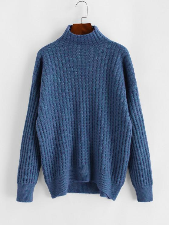 High Collar Drop Shoulder High Low Sweater - أزرق مقاس واحد