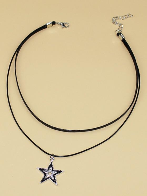 Star Rhinestone Choker Layered Necklace - أسود