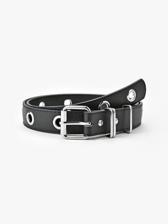Punk Grommet Pin Buckle Belt - أسود