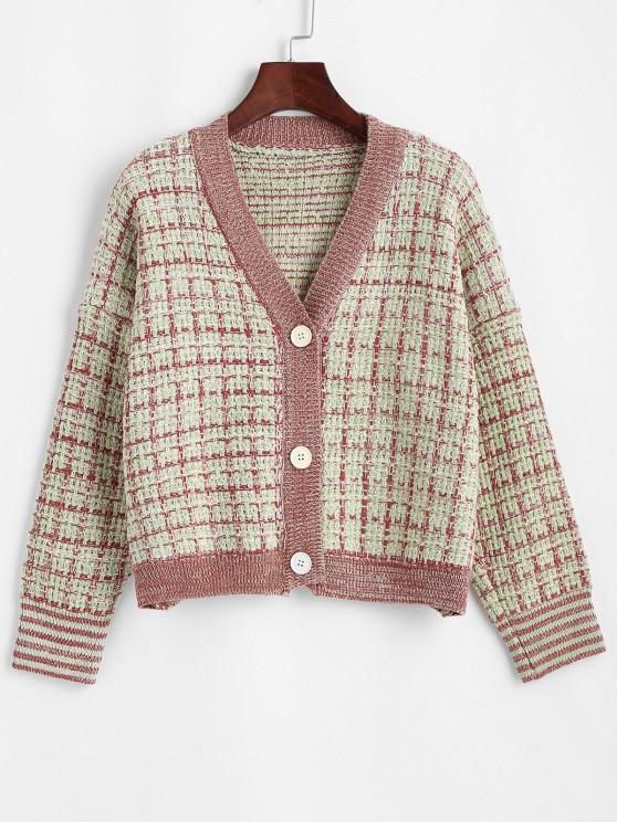 fancy Plaid Button Up Cardigan - GREEN ONE SIZE