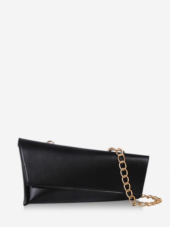 unique Irregular Geometric Chain Crossbody Bag - BLACK