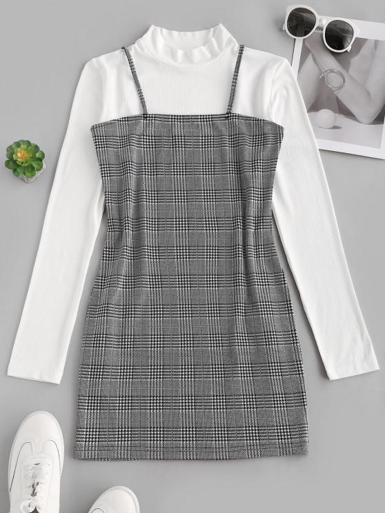 ladies Houndstooth Bodycon Cami Dress with Rib Top - WHITE M