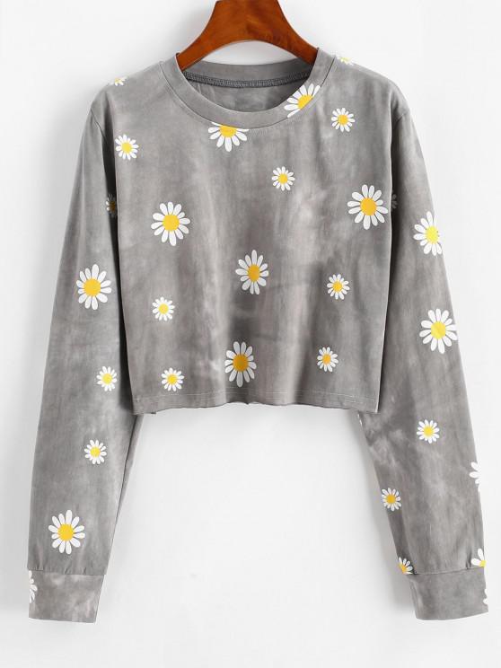 ladies Tie Dye Daisy Print Cropped Sweatshirt - GRAY M