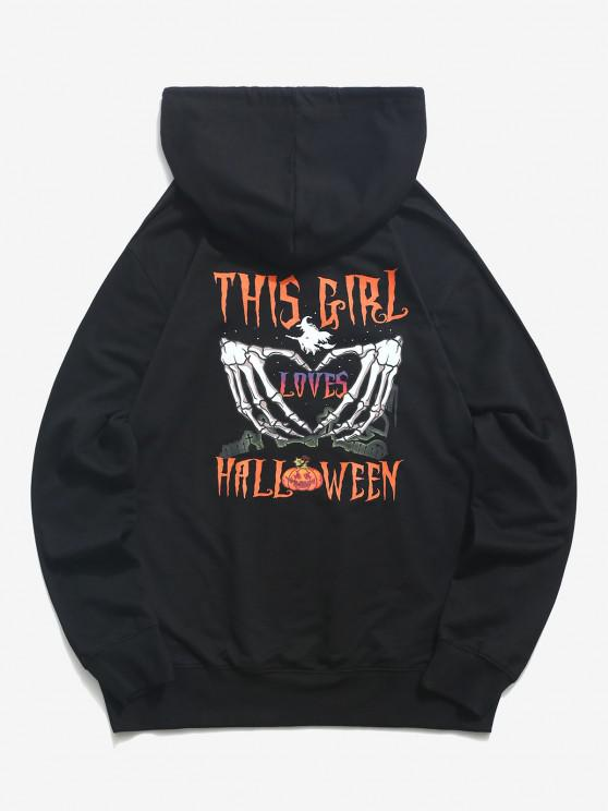 Halloween Heart Hands Graphic Pouch Pocket Drawstring Hoodie - أسود XL