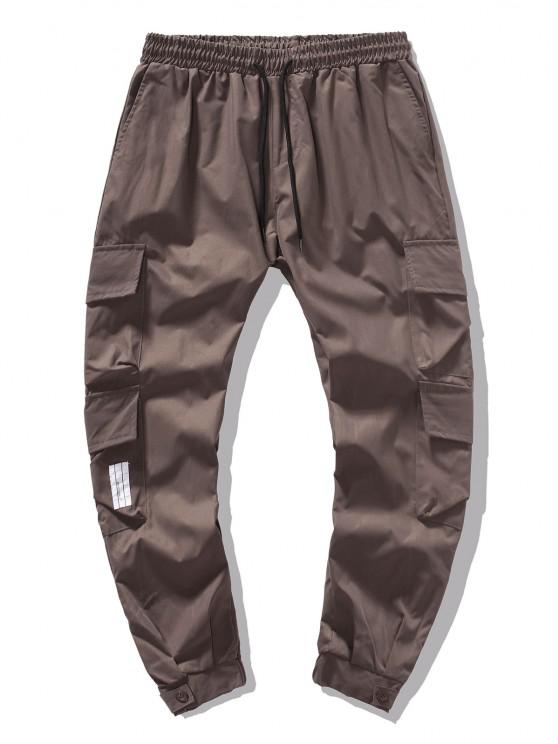 Solid Color Flap Pockets Leisure Cargo Pants - القهوة العميقة S