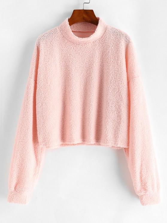 trendy Mock Neck Boxy Teddy Sweatshirt - LIGHT PINK L