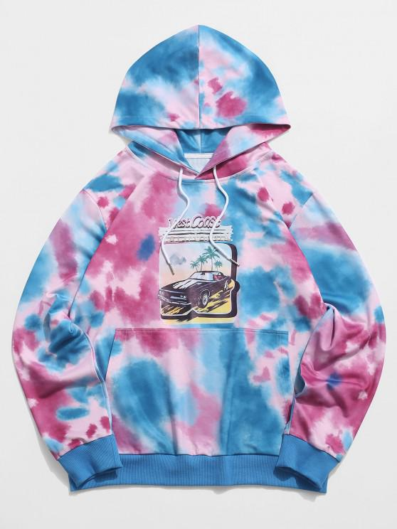 sale ZAFUL Tie Dye Graphic Print Kangaroo Pocket Hoodie - MULTI M