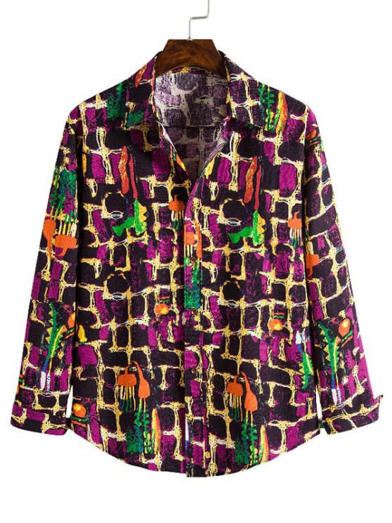 shops Wall Paint Pattern Casual Button Up Shirt - MULTI XL
