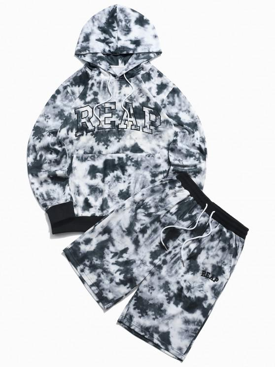 women's ZAFUL Letter Embroidered Tie Dye Print Hoodie and Shorts Two Piece Set - BLACK S