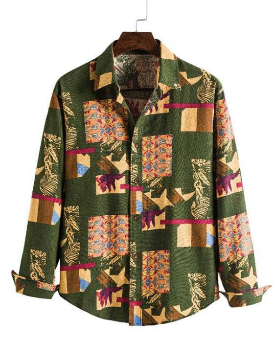 latest Leaf Pattern Block Casual Button Up Shirt - MULTI S