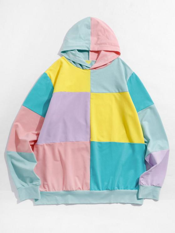 Colorblock Patch Casual Pullover Hoodie - متعدد L