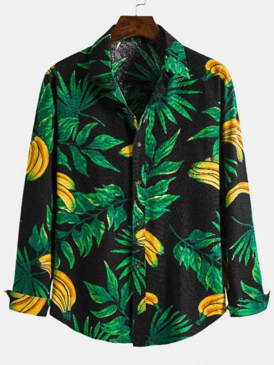 Leaf Banana Print Casual Long Sleeve Shirt - ديب غرين L
