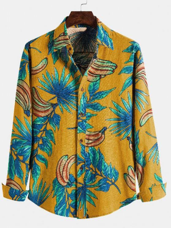 women's Leaf Banana Print Casual Long Sleeve Shirt - YELLOW S