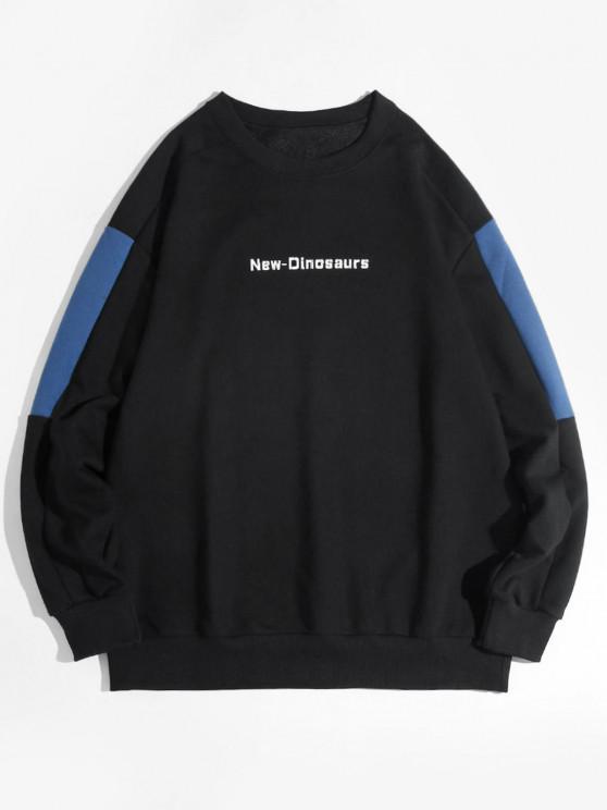 New Dinosaurs Letter Colorblock Drop Shoulder Sweatshirt - أسود L