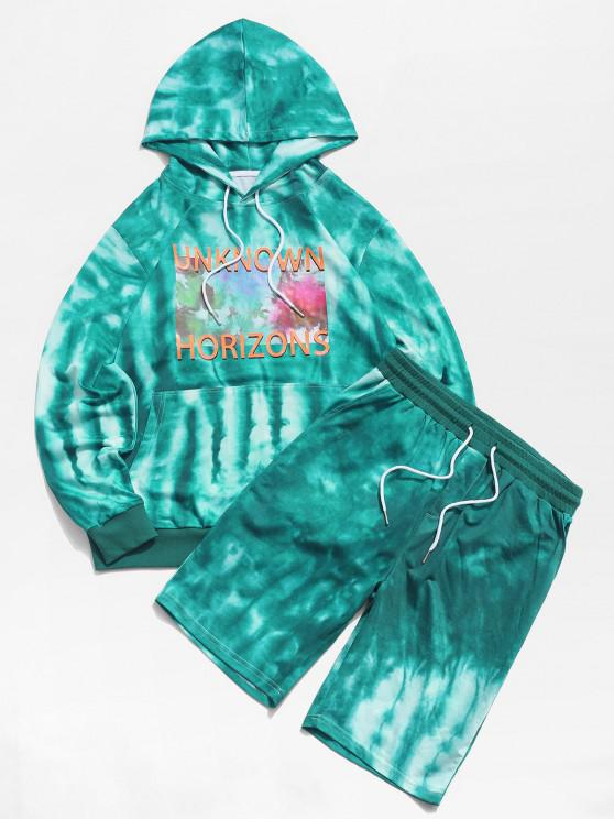 ZAFUL Tie Dye Letters Print Hoodie and Shorts Two Piece Set - أخضر XL