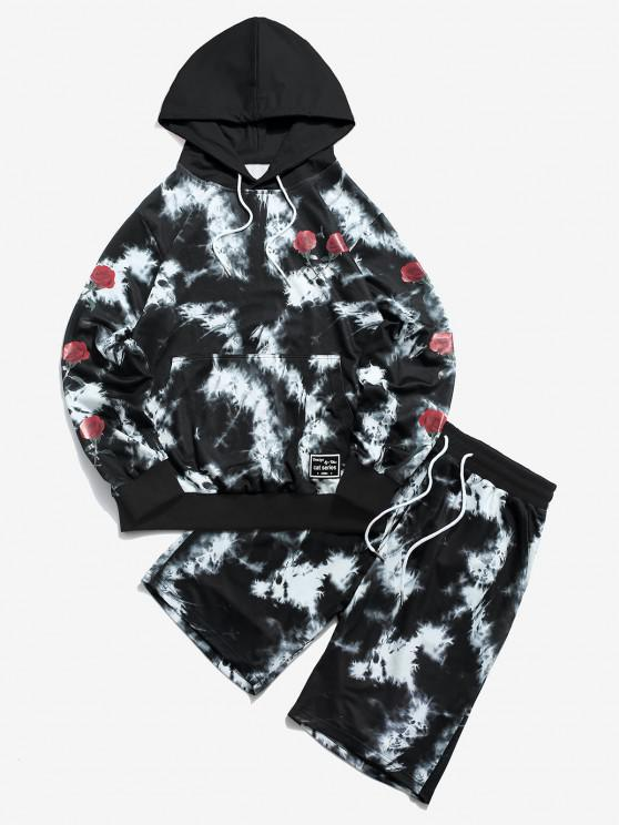 unique ZAFUL Tie Dye Rose Flower Print Hoodie and Shorts Two Piece Set - BLACK S