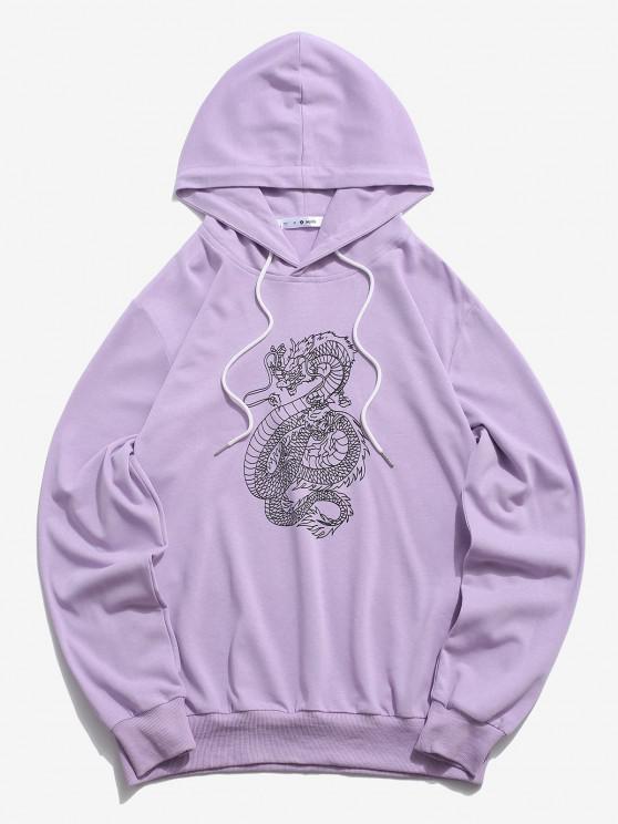 hot ZAFUL Dragon Pattern Chinoiserie Hoodie - LIGHT PURPLE S