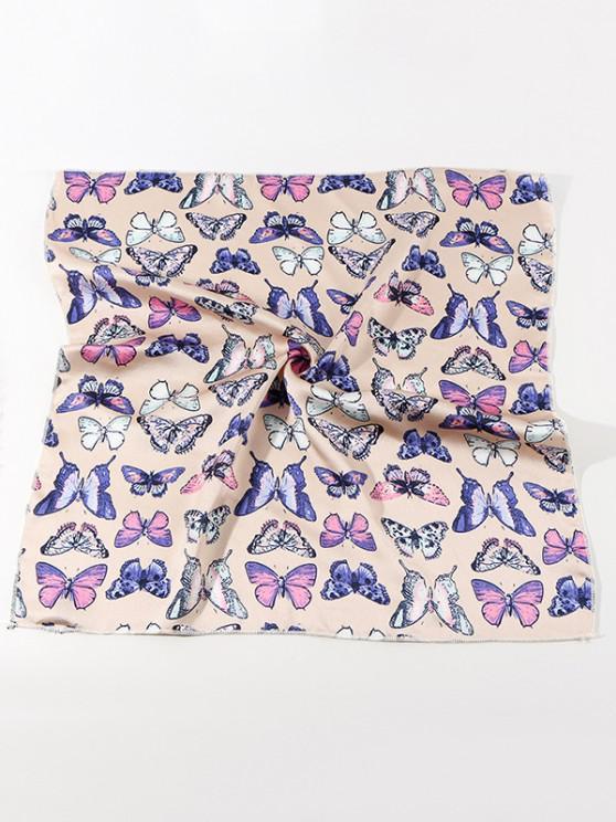 Butterfly Printed Satin Square Scarf - اللون البيج