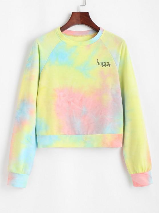Lou-Ann Vecchia X ZAFUL Raglan Sleeve Tie Dye Happy Graphic Sweatshirt - متعدد S