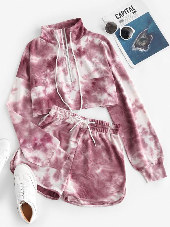 Lou-Ann Vecchia X ZAFUL Tie Dye Half Zip Sweat Two Piece Set - أحمر L