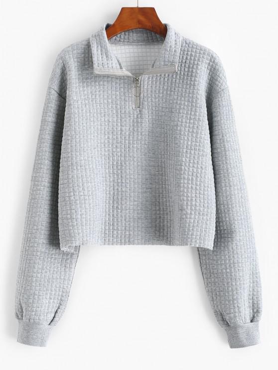 Lou-Ann Vecchia X ZAFUL Pull Ring Marled Raw Hem Sweatshirt - اللون الرمادي S