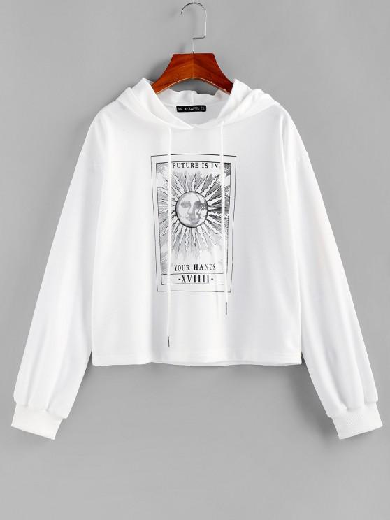 Lou-Ann Vecchia X ZAFUL Sun Slogan Graphic Drop Shoulder Hoodie - أبيض S