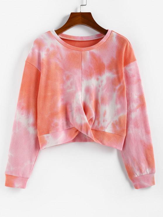 shops Lou-Ann Vecchia X ZAFUL Front Twist Tie Dye Sweatshirt - ORANGE S