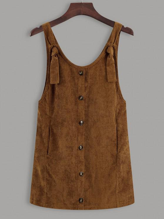 Button Up Tie Shoulder Corduroy Pinafore Dress - قهوة M