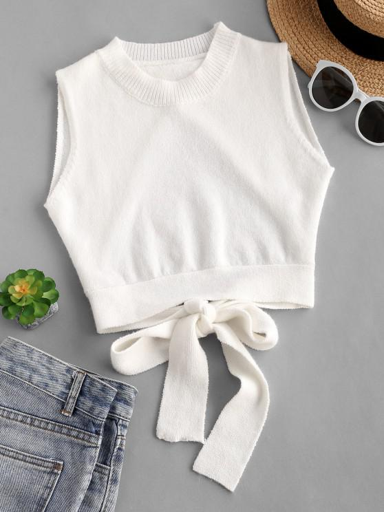 women's Knitted Cutout Tie Back Crop Tank Top - WHITE S