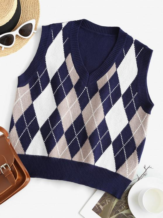 women's ZAFUL V Neck Argyle Sweater Vest - DEEP BLUE ONE SIZE